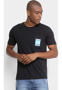 Camiseta Calvin Klein Com Bolso Masculina - Masculino-Preto