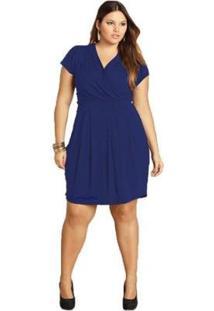 Vestido Plus Size Quintess Curto Feminino - Feminino-Azul