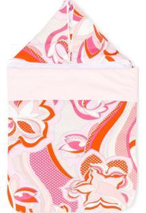 Emilio Pucci Junior Cobertor Com Estampa E Capuz - Rosa