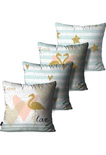 Kit Com 4 Capas Para Almofadas Pump Up Decorativas Branco Casal De Flamingos Love 45X45Cm