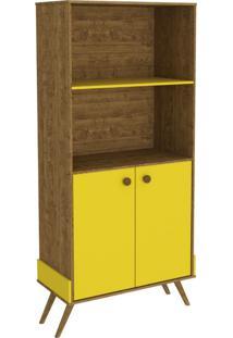 Armário 2 Portas Twister Tililin Móveis Imbuia / Amarelo