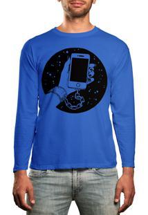 Camiseta Manga Longa Hshop Slave Azul Turquesa