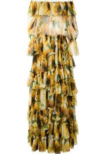 Dolce & Gabbana Vestido Longo De Seda Estampado - Amarelo
