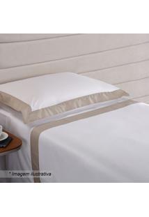 Jogo De Cama Hotel Solteiro- Branco & Bege- 3Pçsniazitex