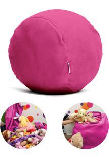 Puff Organizador Quartinhos Infantil Para Bichos De Pelúcia Rosa Escuro