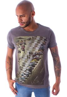 Camiseta Bossa Decote Canoa Fusca In Copa Marrom