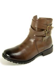Bota Dhatz Ankle Boot Com Duas Fivela Não Possui Cadarço Tabaco - Kanui