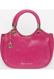Bolsa Em Couro Texturizada- Pink- 28X35X12Cmjorge Bischoff