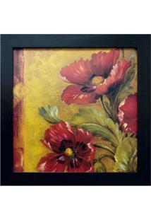 Quadro Flores I Imbuia 35X35 Cm Kapos