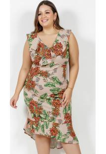 Vestido Midi Floral Mullet Com Babados Plus Size