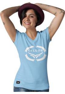 Camiseta Gola V Cellos Corp Premium Feminina - Feminino-Azul Claro