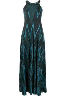M Missoni Zig-Zag Lurex Knit Dress - Azul