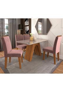 Conjunto De Mesa Clara Para Sala De Jantar Com 4 Cadeiras Taís Moldura -Cimol - Savana / Offwhite / Rose