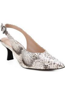 Scarpin Couro Shoestock Slingback Cobra Salto Médio - Feminino-Off White