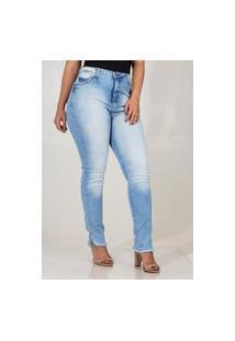 Calça Jeans Feminina Cigarrete Cós Alto Barra Desfiada