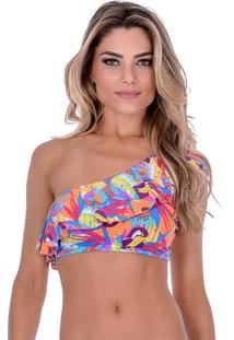 Top Summer Soul Cropped Um Ombro Só Tucano Colorido