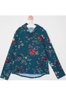 Blusão Em Moletom Floral- Azul & Vermelho- Malweemalwee
