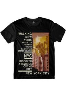 Camiseta Bsc New York Bairros Sublimada Masculina - Masculino-Preto