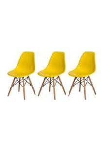 Kit 3 Cadeiras Charles Eames Eiffel Amarela Base Madeira Sala Cozinha Jantar