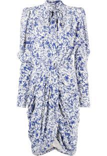 Isabel Marant Vestido Franzido Com Estampa Abstrata E Laço Na Gola - Azul