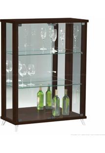 Cristaleira 2 Portas De Vidro Com Espelho E Pés Palito Onix 100% Mdf Imbuia - Móveis Forini