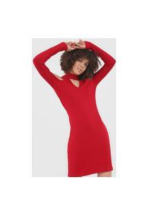 Vestido Forum Curto Canelado Vermelho