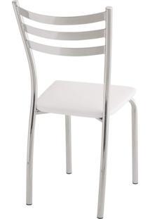 Cadeira Para Cozinha Com Assento Estofado 421 Unimóvel Cromado/Branco