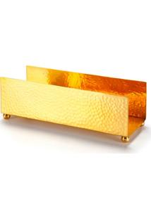Bandeja Porta Toalhas Gold Plus Dourado Banho Mais