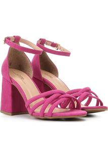 Sandália Griffe Salto Grosso Tiras Cruzadas Feminina - Feminino-Pink