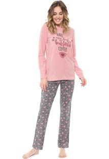 Pijama Malwee Liberta Flanelado Lettering Rosa/Cinza