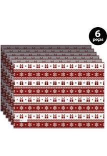 Jogo Americano Mdecore Natal Presentes 40X28 Cm Vermelho 6Pçs