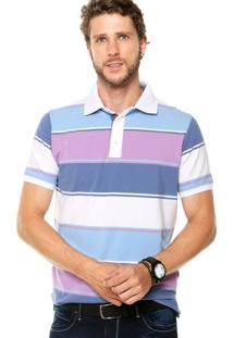 Camisa Polo Pacific Blue Listrada Azul/Roxo/Branca