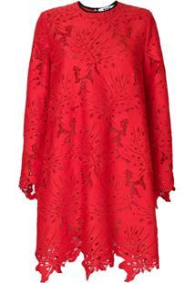 Msgm Vestido De Renda - Vermelho