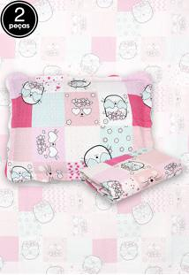 Kit Colcha Solteiro Camesa 2Pçs Evoluition Patchwork Infantil 160X230 Kitty