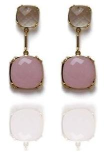 Brinco Barbara Strauss Em Resina Lalique Revestido Em Ouro 18K - Feminino-Rosa