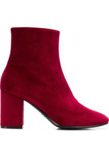 Balenciaga Ankle Boot De Veludo - Vermelho