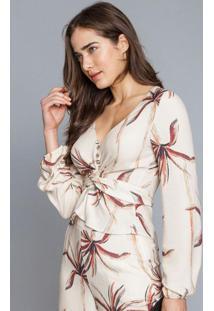 Blusa Recorte Transpassado Bege