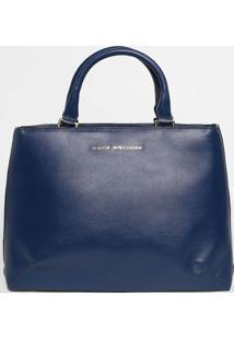 Bolsa Em Couro Com Bolsos - Azul Marinho - 30X37X9Cmjorge Bischoff