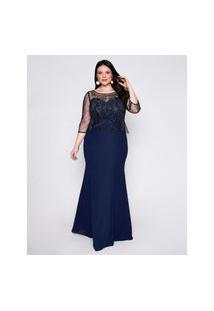 Vestido Almaria Plus Size Pianeta Longo Tule Azul Marinho