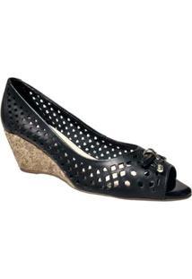 Sapato Couro Bottero Salto Anabela 278803 - Feminino-Preto