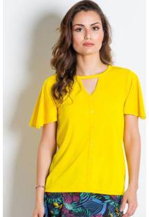 Blusa Amarela Com Recorte Vazado Moda Evangélica