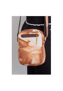 Bolsa Shoulder Bag De Couro Pietra - Marrom Mescla