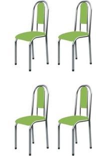 Cadeira Marcheli 0.122 Cromado,Verde 4 Cadeiras