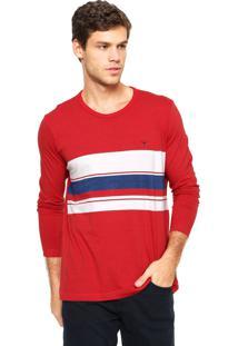 Camiseta Polo Play Listrada Branca/Vermelho