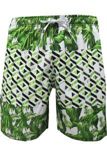 Shorts Elástico Alkary Folhagem 3D Verde