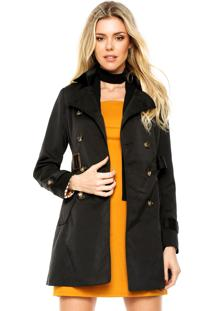 Casaco Trench Coat Facinelli By Mooncity Botões Preto