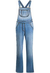 Moschino Macacão Jeans Com Aplicação De Cristais - Azul