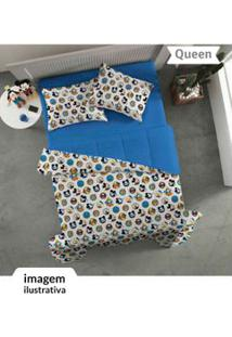 Jogo De Cama Queen 3Pçs Mickey Azul - Portallar - Un