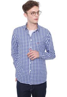 Camisa Tommy Jeans Reta Quadriculada Azul-Marinho/Branca