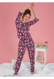 Pijama Com Detalhe De Amarração Na Blusa Lhama